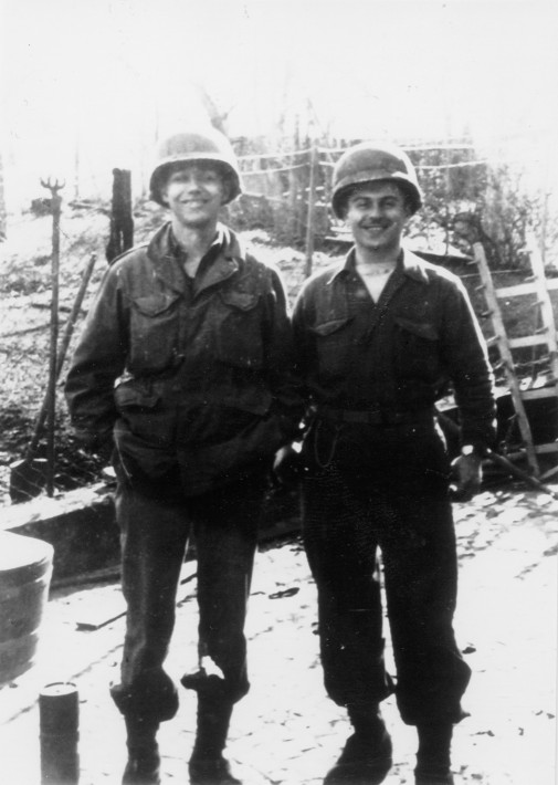 Cpl Mitchell Kaidy (left) and T/Sgt Willie Cohen in Germany, April 1945