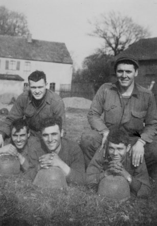 Front (L-R): Lester Zimmerman of Cheyenne,WY; Donato Marini of Malden, MA; Thomas McAbee of Spartenburg, SC Back (L-R): John McAuliffe of Worcester, MA; Glen Deel of NC. All members of 1st squad, 1st mortar section, 3rd platoon.