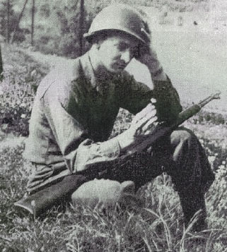 Private First Class Fred Woodress photographed near Saalburg, Germany, shortly after VE Day, May 1945. The 87th Infantry Division became part of the Army of Occupation at Plauen in Saxony near the Czech border.